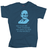 Gandhi – Be the change - Grey Blue